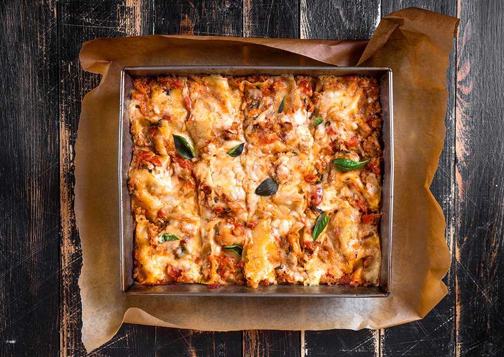 Lasagne med bechamelsås och köttfärs