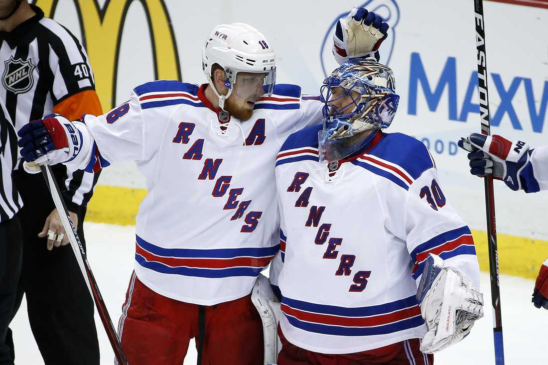 New York Rangers lirar i Madison Square Garden.