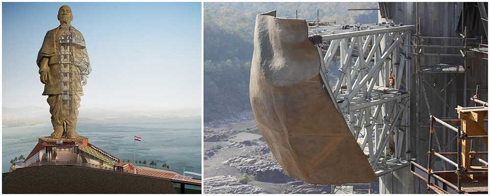 Den 182 meter höga statyn kommer att bli den högsta i världen.