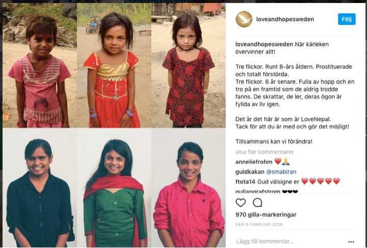 Tre flickor pekas felaktigt ut som prostituerade på Love and hopes Facebooksida och Instagramkonto.