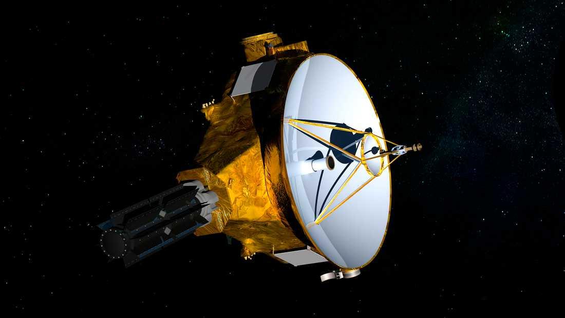 Illustration av New Horizon-sonden. Farkosten är stor som en flygel.