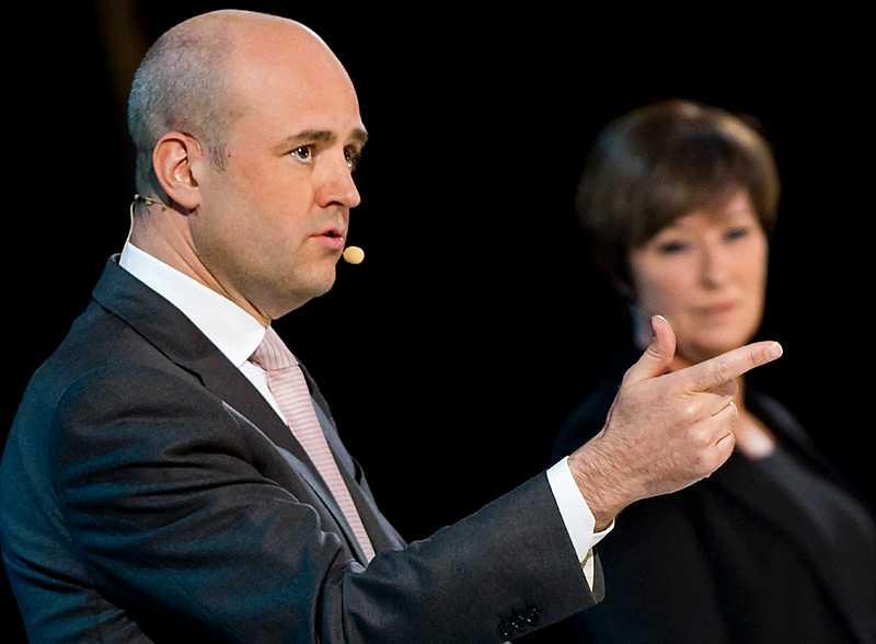 Statsminister Fredrik Reinfeldt och s-ledaren Mona Sahlin möttes i het debatt i dag.