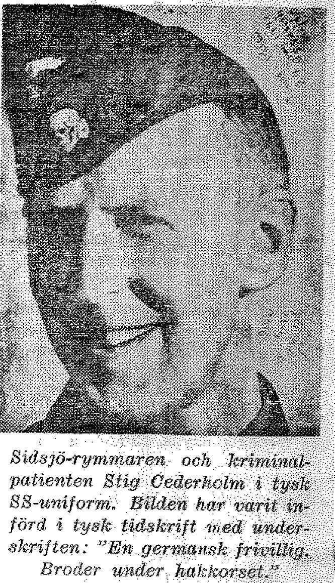 Skaparen Stig Cederholm iförd SS-uniformen. Bilden är hämtad ur SÄPO:s personakt.