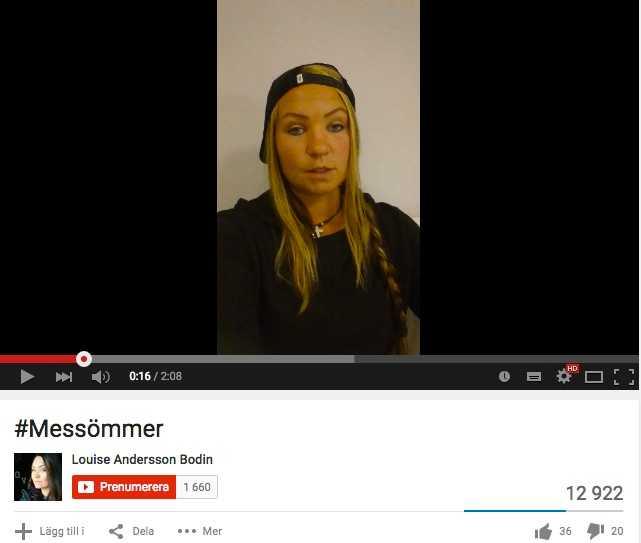 Skärmdump från Louise Bodins youtubekanal.