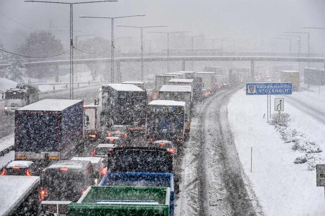 Snöoväder i Stockholm.