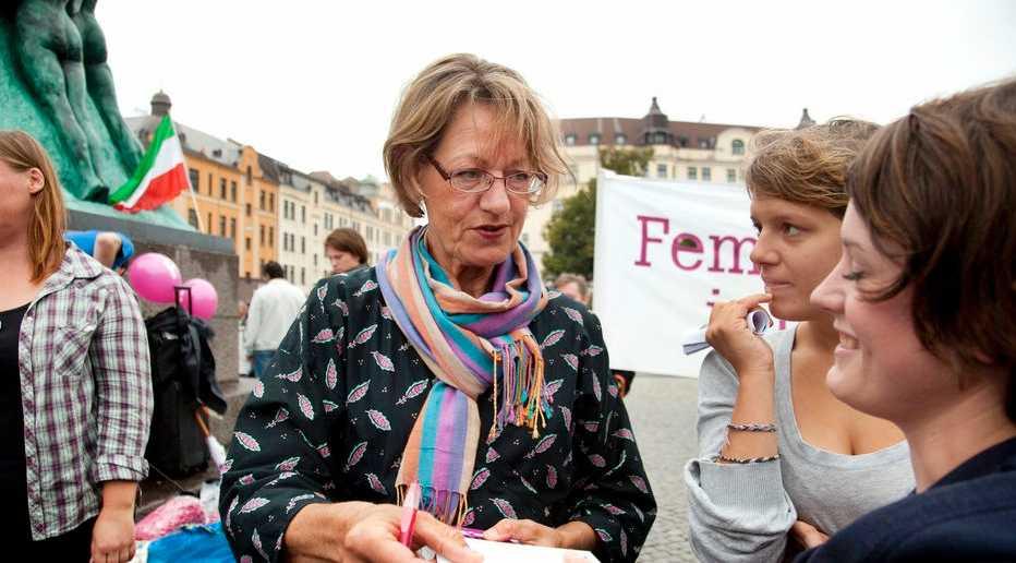 Gudrun Schyman Feministiskt initiativs valupptaktsmöte på Möllevångstorget i Malmö i augusti i fjol.