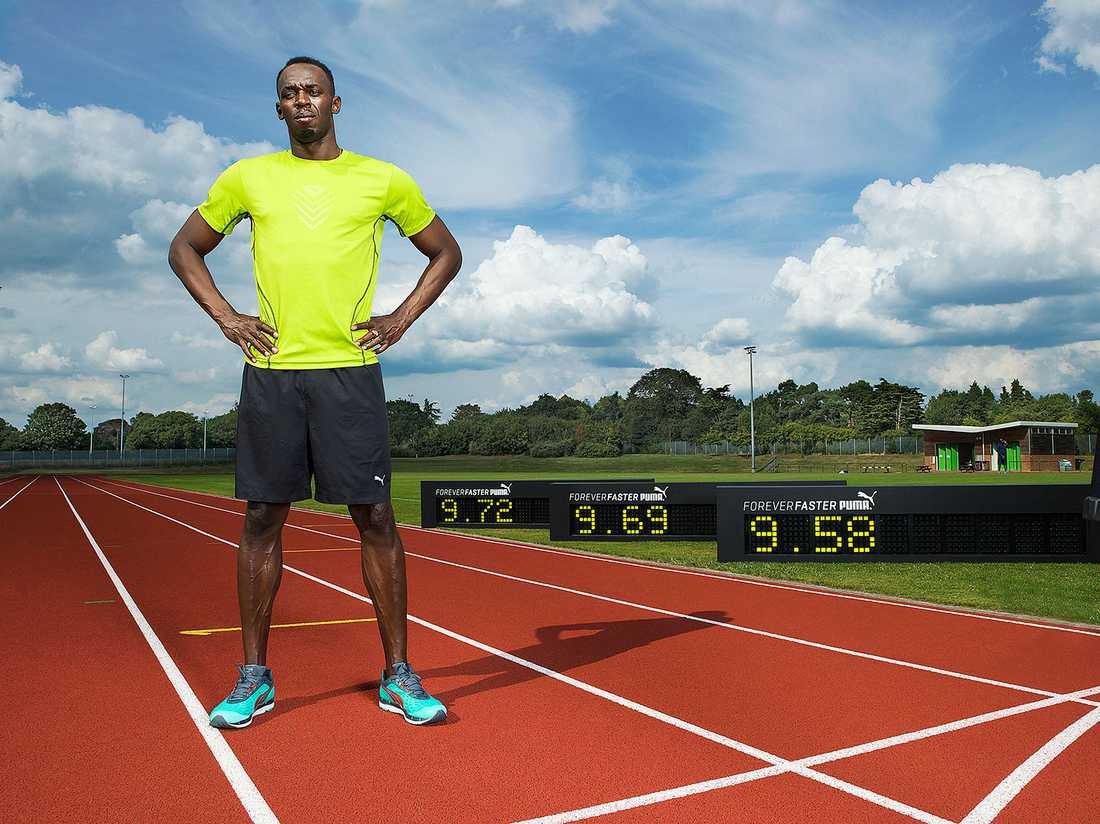 Usain Bolt och hans tre snabbaste tider på 100 m.