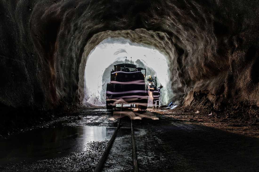 Interiör från LKAB:s gruva i Malmberget.