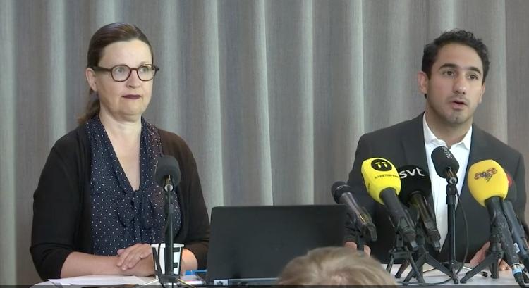 Pressträff med gymnasie- och kunskapslyftsminister Anna Ekström och civilminister Ardalan Shekarabi .
