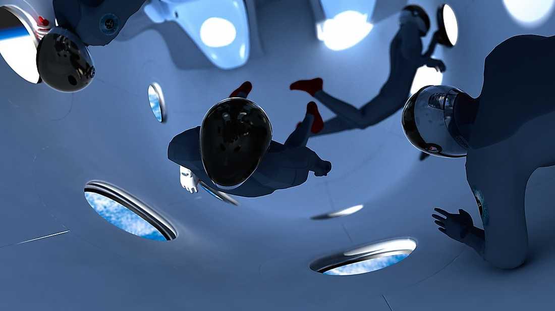 Så här kommer det att se ut när astrounaterna är tyngdlösa i Virgin Galactis SpaceShipTwo.