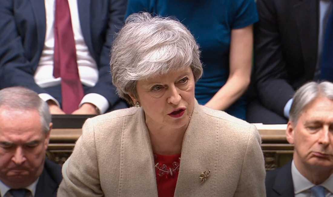 Storbritanniens premiärminister Theresa May under omröstningen i parlamentet i fredags.