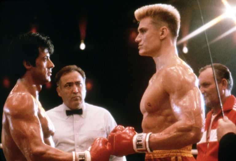 "Sylvester Stallone och Dolph Lundgren i ""Rocky IV""."