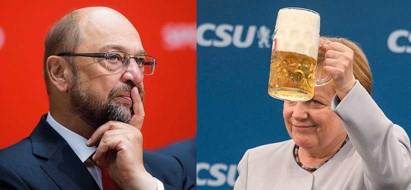Huvudmotståndarna i det tyska valet: Angela Merkel och Martin Schulz.