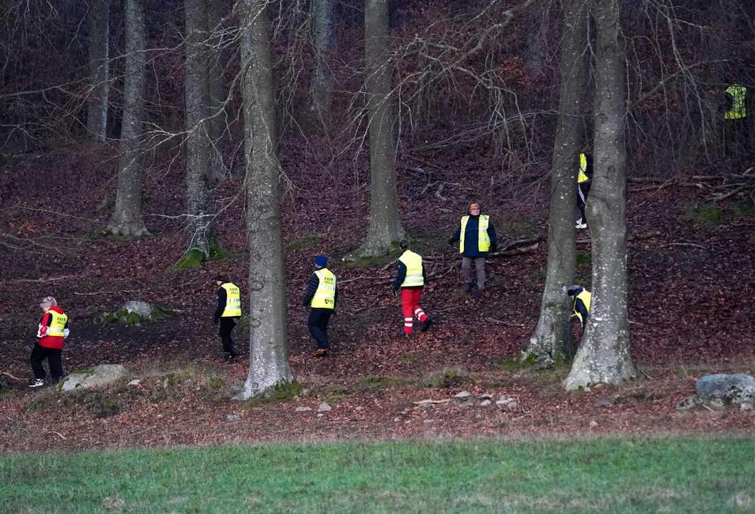 Frivilliga från Fikk söker i ett område utanför Tollarp efter den 20-åriga kvinna som har varit försvunnen i över en vecka.