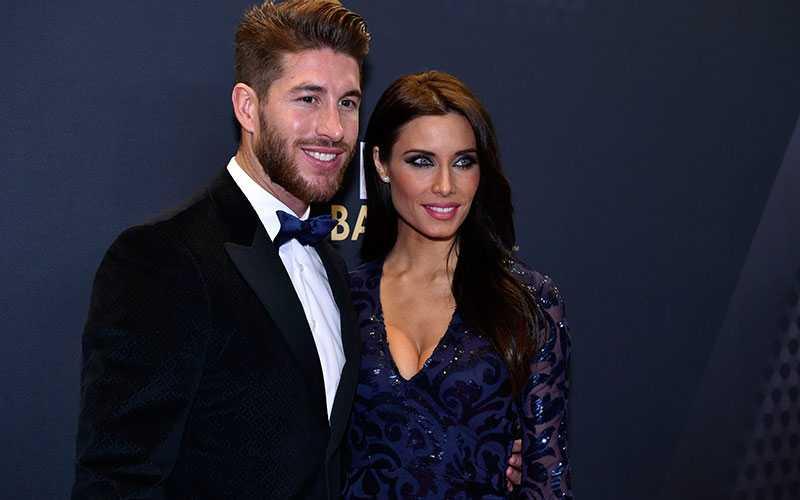 Real Madrids Sergio Ramos med flickvännen Pilar Rubio.