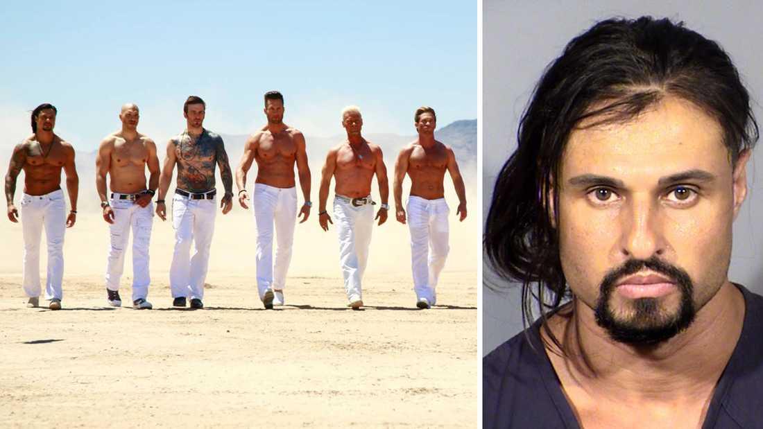 """Polisens """"mugshot"""" av Ash Armand (till höger), som varit en av profilerna i Showtime-serien """"Gigolos""""."""