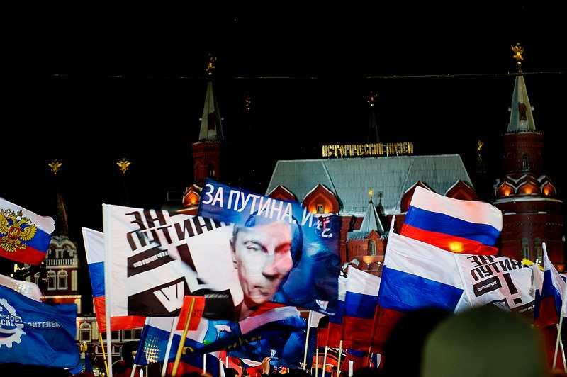 """""""Putin är vår president"""" """"Putin vi är med dig"""" stod det på plakaten."""