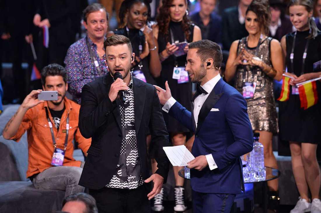 Justin Timberlake och Måns Zelmerlöw.
