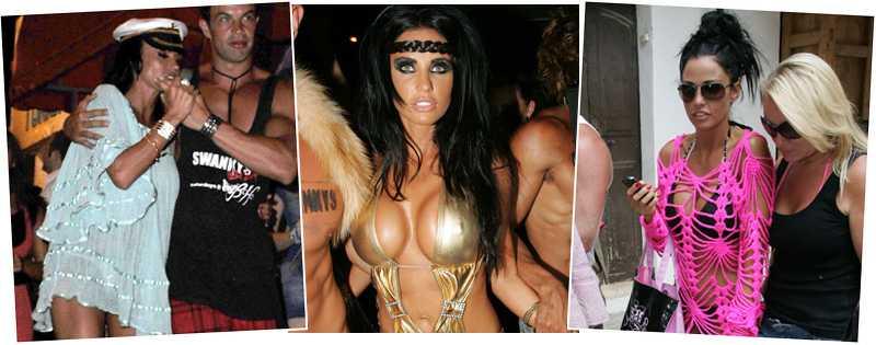 Olika outfits Jordan festar loss på Ibiza – med mannen som påstås vara hennes nya pojkvän, Anthony Lowther.