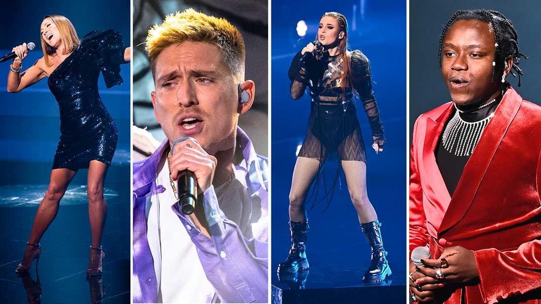 Bidragen från redan klara finalisterna Charlotte Perrelli, Danny Saucedo, Dotter och Tusse Chiza har läckt ut på rysk sajt.