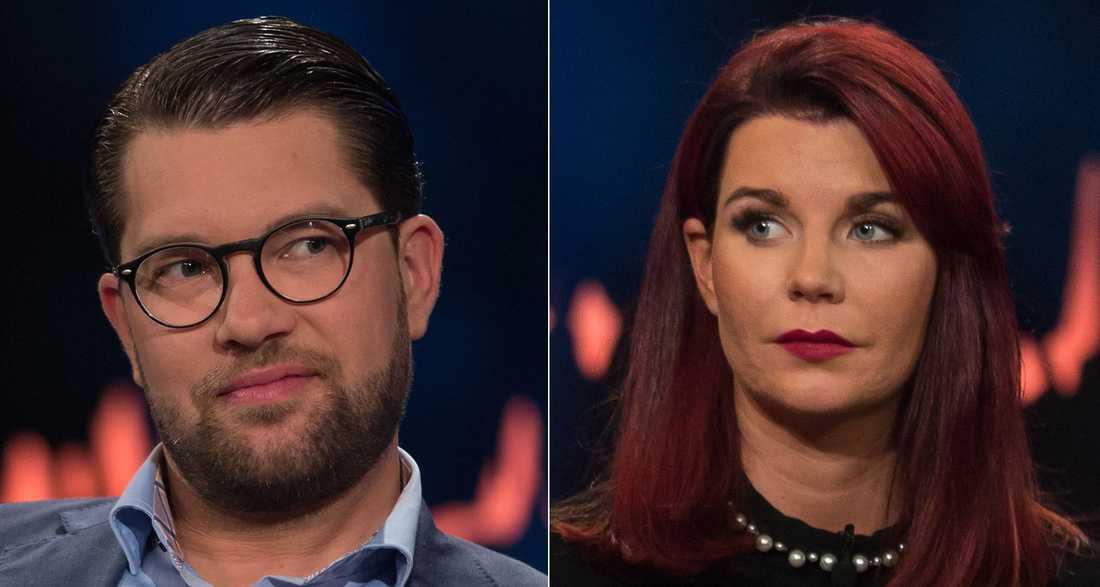 "Jimmie Åkesson och Louise Erixon i ""Skavlan""."