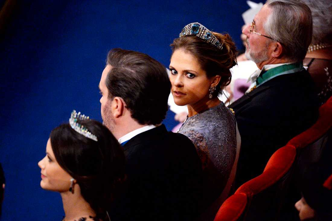 Prinsessan Madeleine vid nobelprisutdelningen i Konserthuset i Stockholm på torsdagen.
