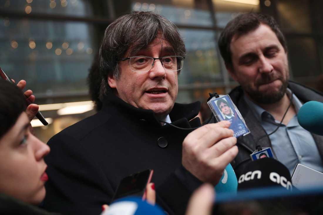 Carles Puigdemont kunde efter utslaget i EU-domstolen för två veckor sedan tillträda som EU-parlamentariker. Arkivbild.