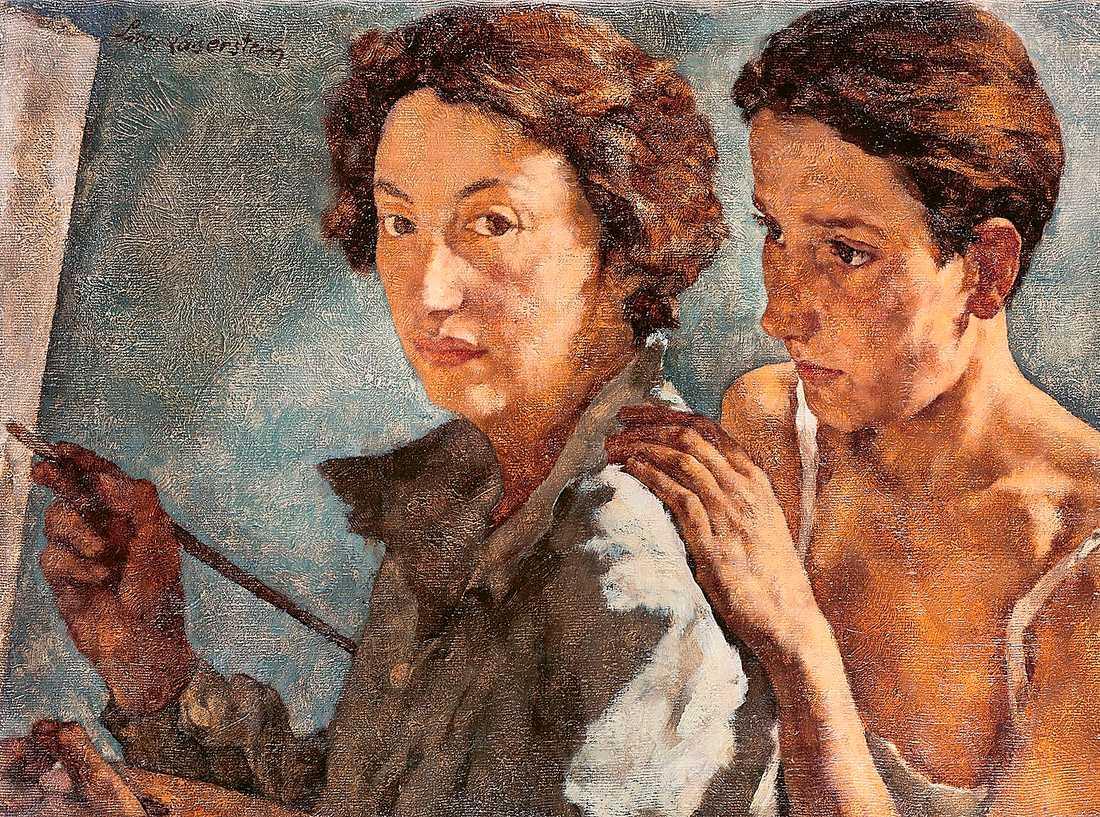 """I """"Ich und mein Modell"""" från 1929/30 porträtterar konstnären Lotte Laserstein sig själv med modellen Traute Rose bakom sig."""