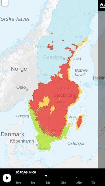 MSB:s visualisering av gräsbrandsrisk under påskhelgen visar stor risk för södra och mellersta Sverige.