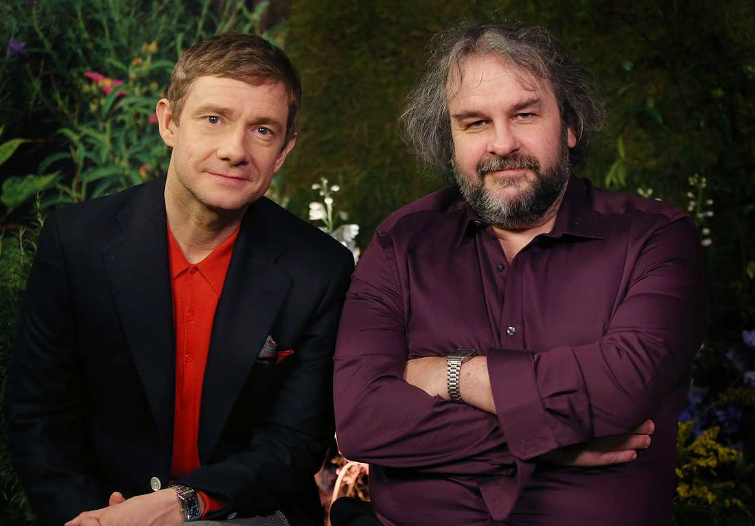 Martin Freeman och Peter Jackson.