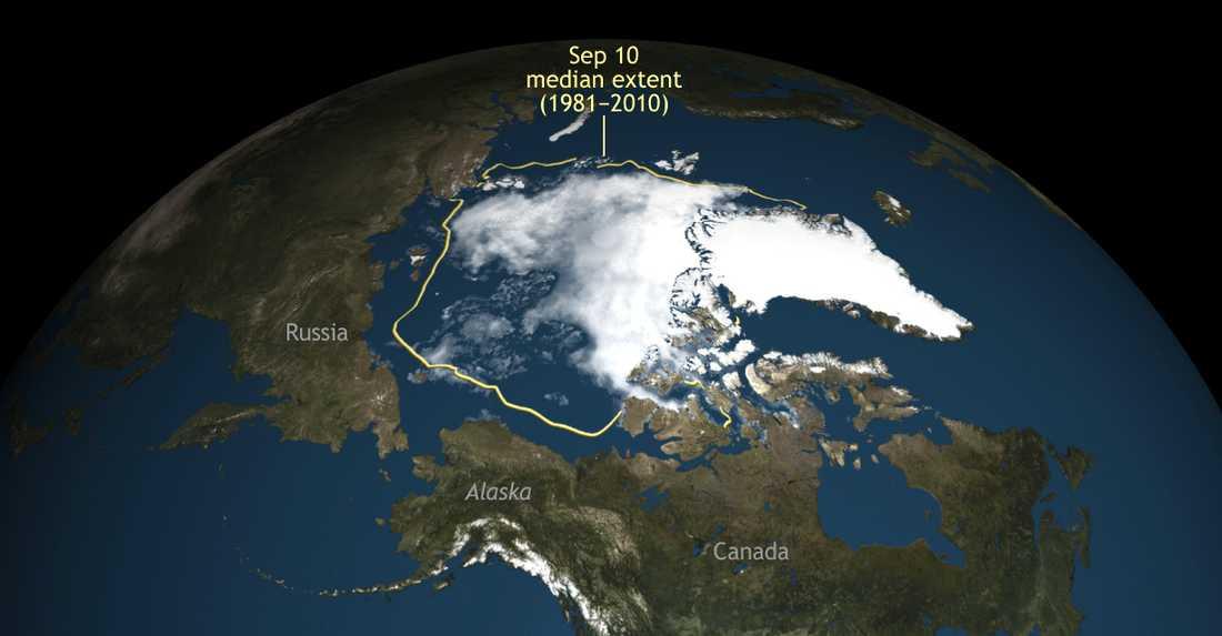 Havsisen i Arktis sjönk i somras till den näst lägsta nivån sedan forskare började mäta den med satellit.