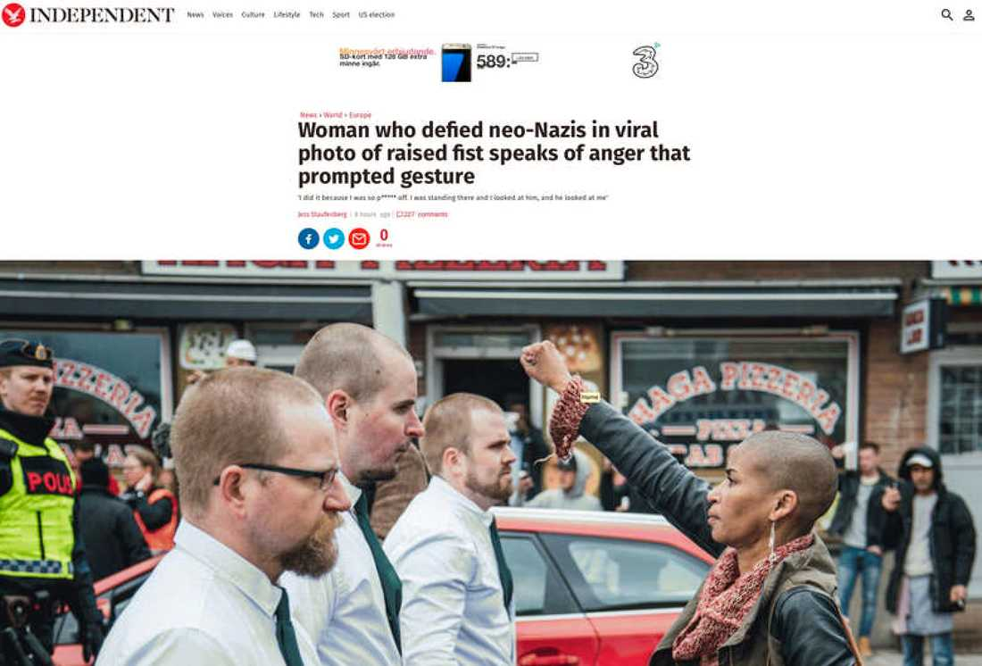 """Brittiska Independent: """"Kvinna som trotsade nynazister på viral bild med höjd näve berättar om ilskan som fick henne att gestikulera."""""""