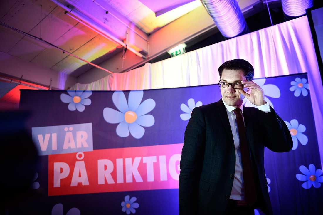 SD-ledaren Jimmie Åkesson på valnatten 2014.