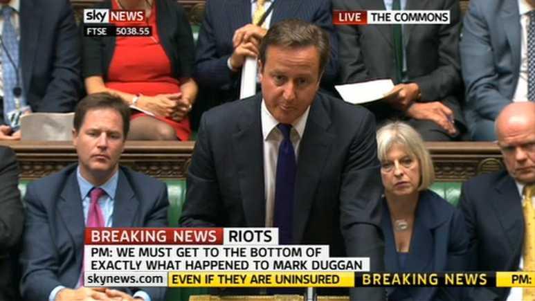 Svar på tal David Cameron möttes av arga protester från kollegor när han talade i parlamentet vid 13-tiden idag.
