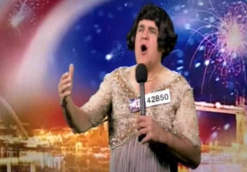 Jay Leno imiterar Susan Boyle i sin talkshow.