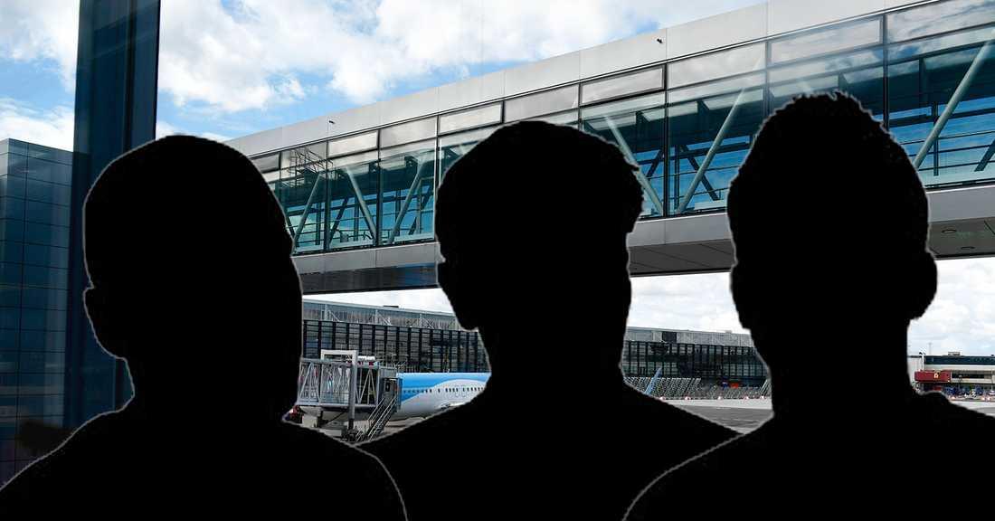 Tre män frihetsberövades när de var på väg att lämna landet, enligt Aftonbladets uppgifter.