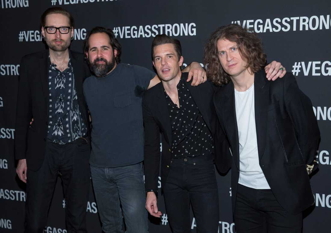 Mark Stoermer, Ronnie Vannucci, Brandon Flowers och Dave Keuning i The Killers. Arkivbild.