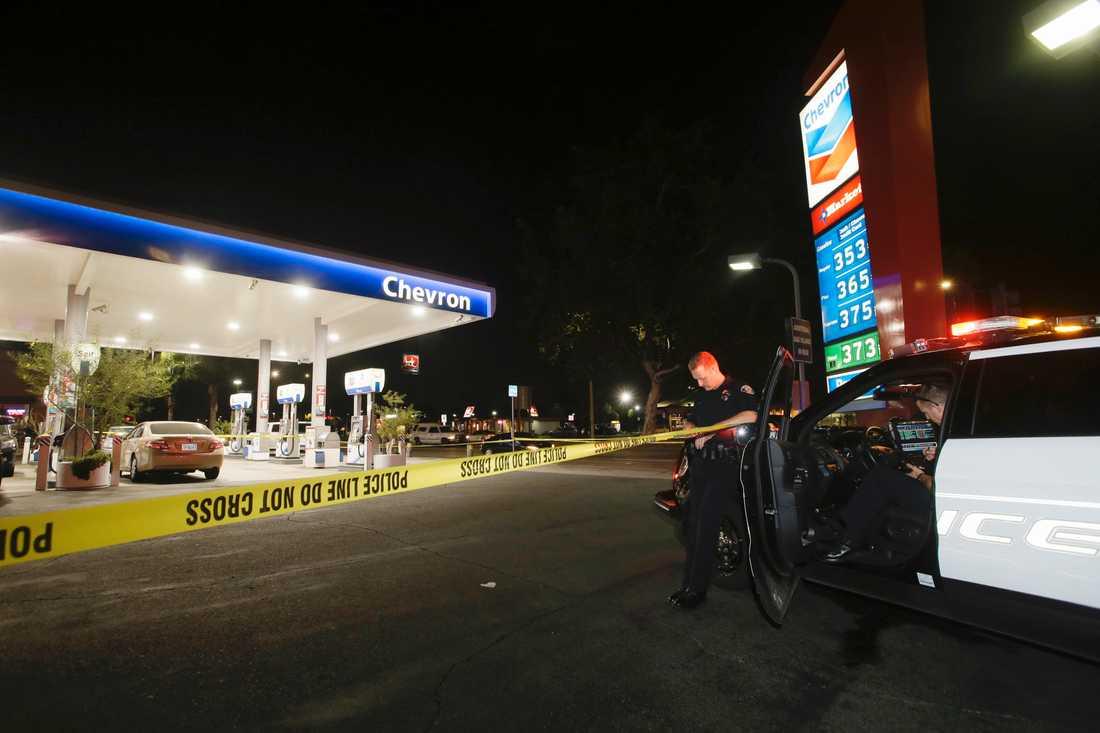 Attacken ägde rum på flera platser i området, bland annat en bensinmack.