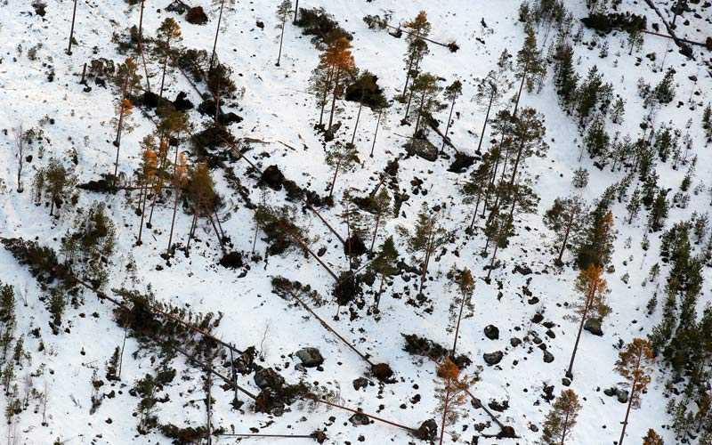 Aftonbladets flygbilder visar tydligt stormens förödelse i Hassela i Gävleborgs län.