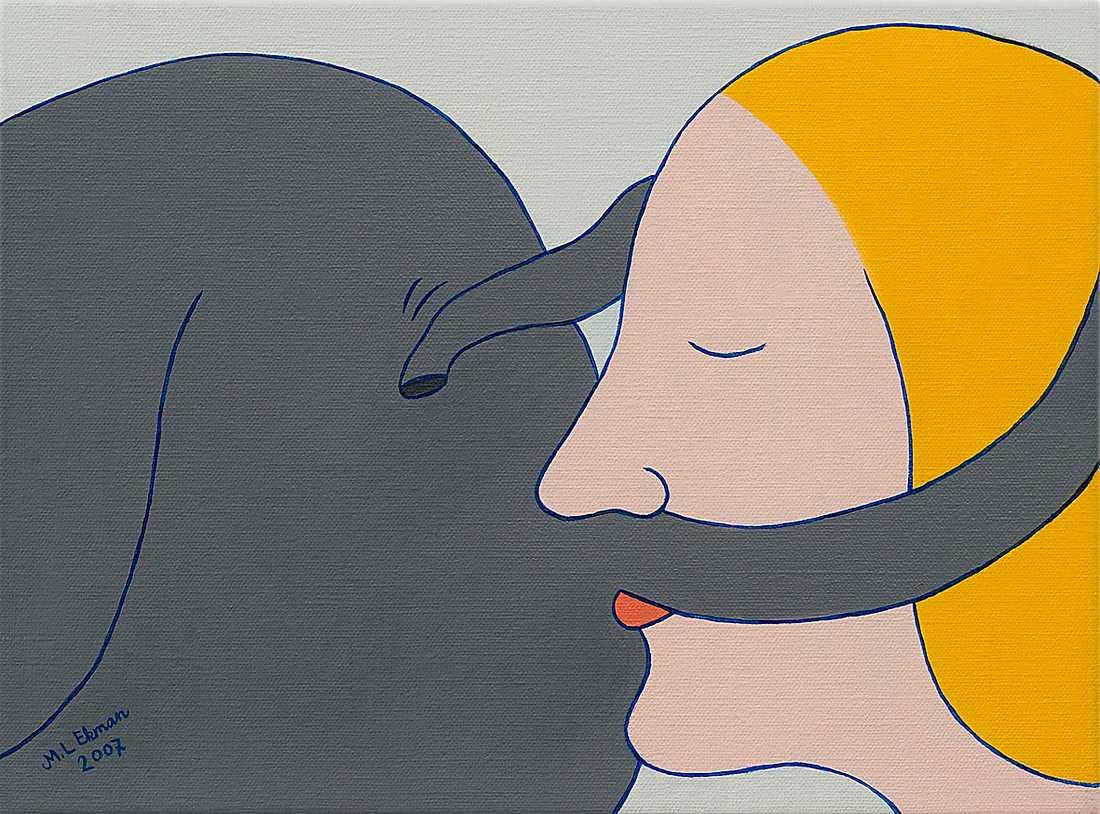 """Marie-Louise Ekman, """"Dam och elefant-gata II"""", 2007."""