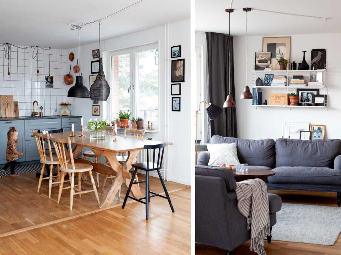 """Dottern Nomi i hemmets kök. Barnstolen Stokke från Ikea. Taklampor från Watt & Veke och Granit. """"Matbordet har funnits i släkten länge och kommer från en gård i Dalarna"""", säger Christina.  Egentillverkat soffbord och matta från Ellos home. Soffor Stocksund, Ikea.  Pall köpt på loppis och kudde på H&M home. Taklampor från Hornbach och golvlampa, med nya skärmar från Mio, ärvd efter Martins farmor."""