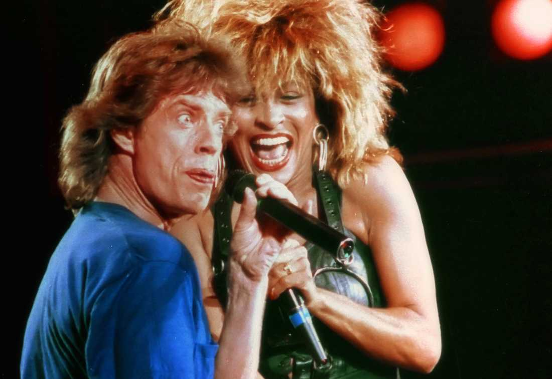 Tina Turner med Mick Jagger på Live Aid i Philadelphia 1985.