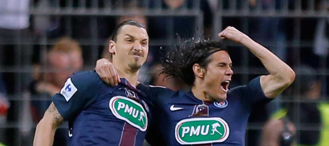 Zlatan firar med Cavani – som nu kan slå svenskens målrerkord i klubben.