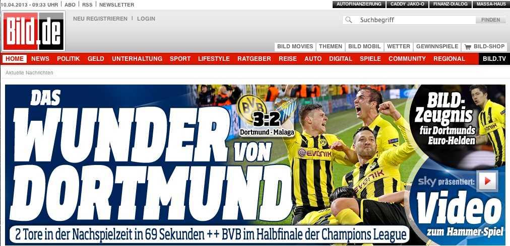 Förstasidan på tyska sajten Bild.