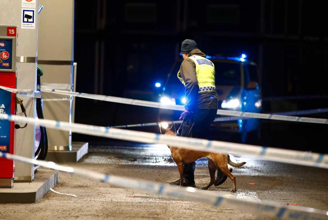 Polisen arbetar med sökhund efter en skjutning i Kungens kurva i Stockholm.