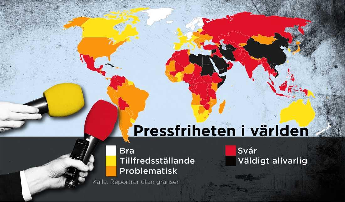 Karta som beskriver pressfriheten i världen.