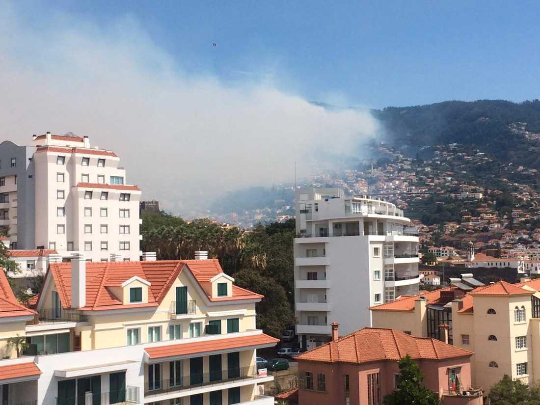 Sebastian Håkansson och Maria Andersson befann sig på Madeira när röken blåste in över staden Funchal.