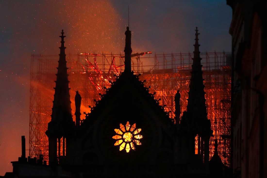 Medeltidskatedralen Notre-Dame brinner för fullt i Paris.