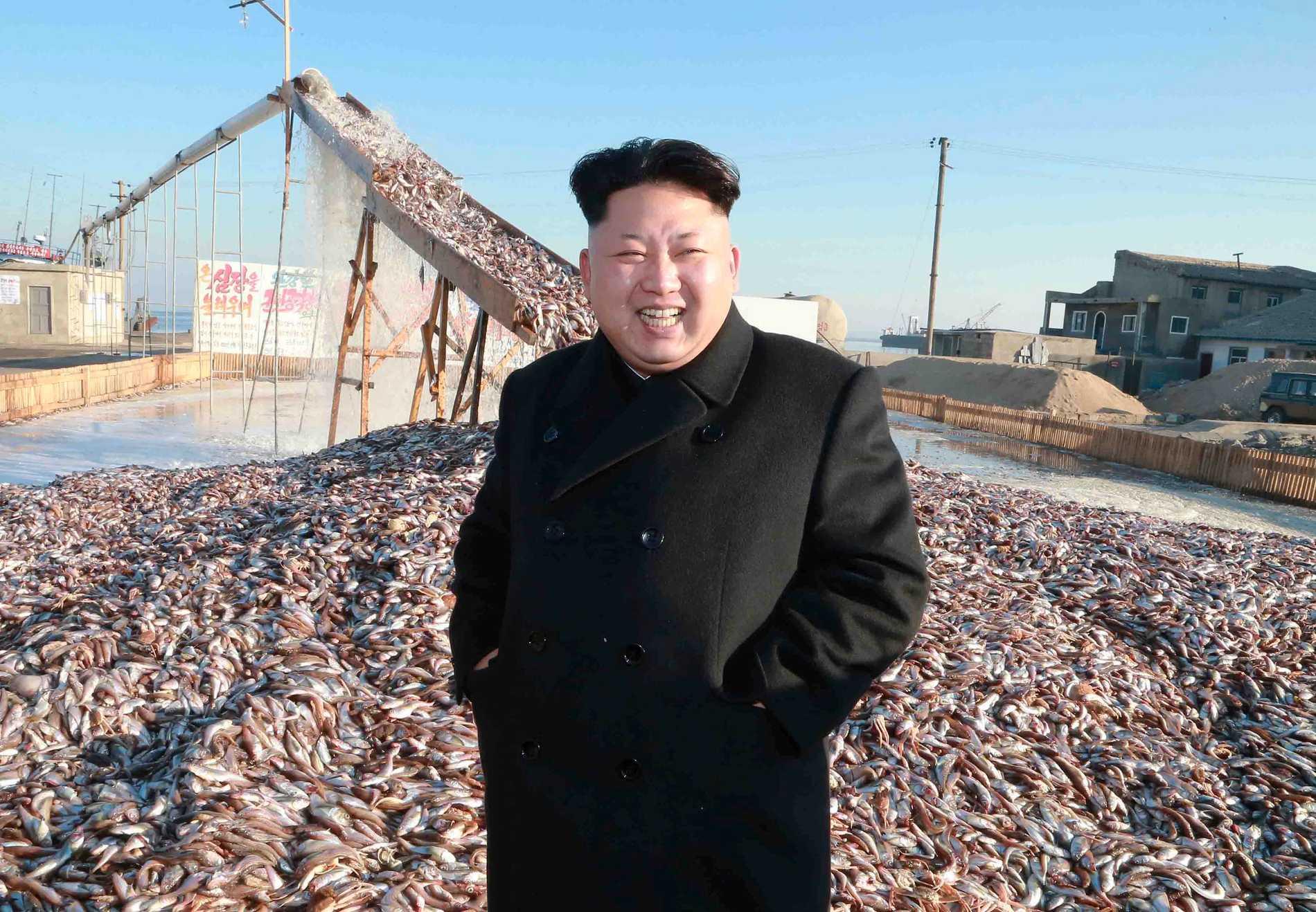 Kim Jong-Un framför en hög med fisk. Enligt Nordkoreansk tv ska han ha varit mycket nöjd med besöket.