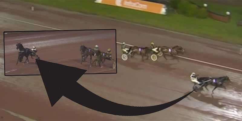 Här galopperar hästen Millmighty i sista kurvan av V86-loppet. Men vinner ändå.